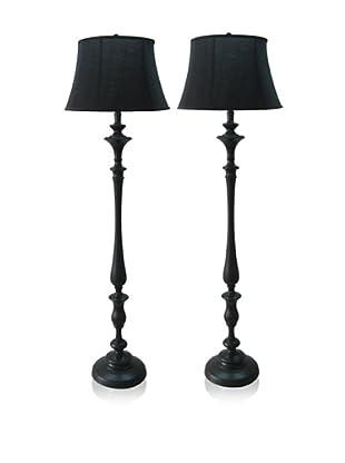 Feiss Set of 2 Metal Candlestick Floor Lamps, Black