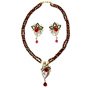 Daamak Jewellery Red And Green Beads Necklace Set With Cubic Zircon Pendant