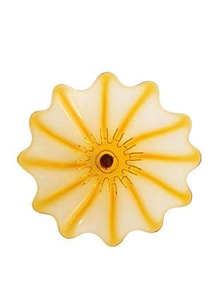 Hand Blown Glass Amber Plate