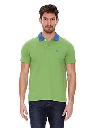Jack Russell Polo Cuello Contraste (Verde Lima / Azul)