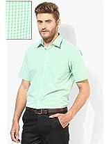 Green Checked Regular Fit Formal Shirt Arrow