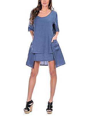 100% Lino Bleu Marine Vestido Gloria