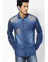 Blue Casual Shirt V Dot