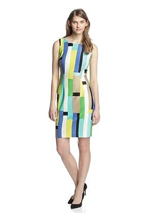 Chetta B Women's Geometric Sheath Dress (Turquoise)