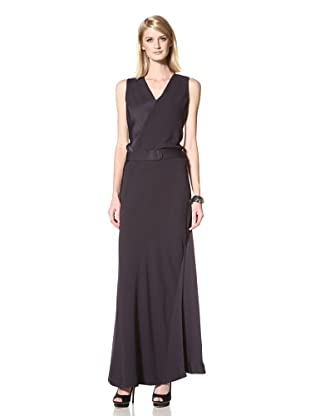 HALSTON HERITAGE Women's Sleeveless V-Neck Column Dress (Navy)