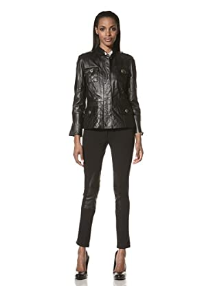 Zelda Women's Maribelle Quilted Leather Jacket (Black)