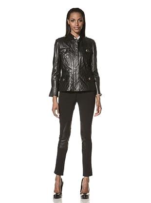 Zelda Women's Maribelle Quilted Leather Jacket (Black)