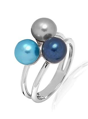 Pure Pearls Anillo plata con perlas de agua dulce (Azul / Gris / Lila)