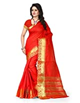 Shree Sanskruti Self Design Tassar Silk Red Color Saree For Women With Blouse Piece