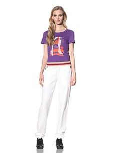 Just Cavalli Women's Sweatpants with Striped Trim (White)