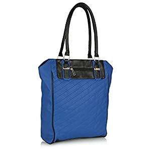 Blue Quilted Tote Handbag