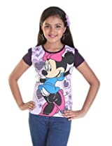 Disney Girls' Graphic Printed T shirt (0123906_Aubergine_7-8 Years)