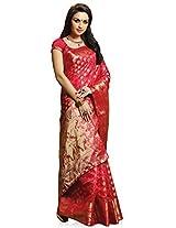 Meghdoot Artificial Silk Saree (VIVAAH_MT1156_CHERRY Woven Red Colour Sari)