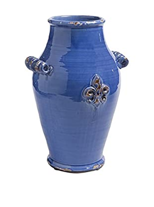 Napa Home and Garden Fleur De Lis Tall Urn, Blue