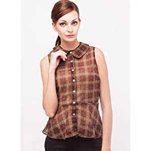 Chiffon Button Through Peplum Top In Checks