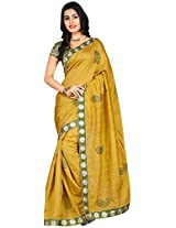 Clickedia Women Bhagalpuri Silk Green Beautiful Saree With Attached Embroidered blouse Pc