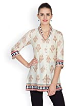 Ayaany Beige Printed Tunic - ARY801B_S