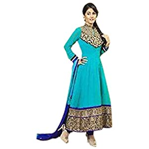 TV Actress Akshara Cyan Long Anarkali Dress