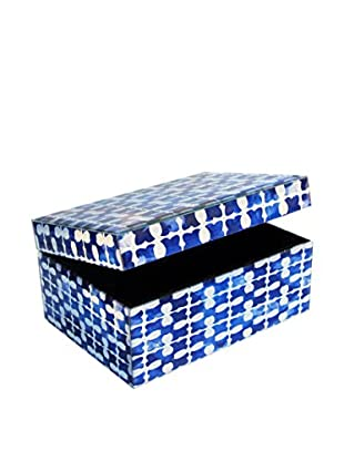 American Atelier Medallion Squares Rectangle Jewelry Box, Blue