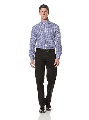 De Corato Men's Dress Shirt (Blue Plaid)