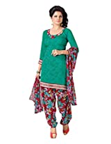 Abida Polyester Green Color Salwar Suit