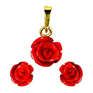 Pearl Paradise Rose Coral Pendant With Earring