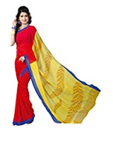 ANSS Elegant Faux Georgette Saree with Floral Print - Red
