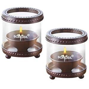 Borosil Decorative Diya Lights (Small, Set of 2)