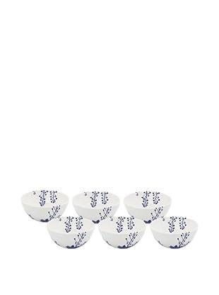 Elinno Set of 6 Evergreen Blues Bowls, White/Blue, 5