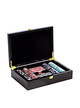 Poker Set In Inlaid Lacquer Wood Box, Black