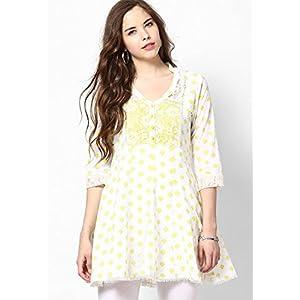 White & Yellow Printed Anarkali Cotton Kurti With Lace Inserts At Yoke, Hem And Sleeves