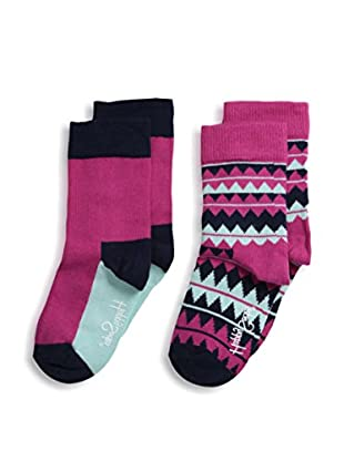 Happy Socks Kid's 2-Pack Combed Cotton Colorblock & Zig Zag Ankle Socks (Pink/Turquoise)