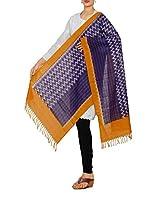 Unnati Silks Women Casual violet-yellow pure Pochampally cotton stole
