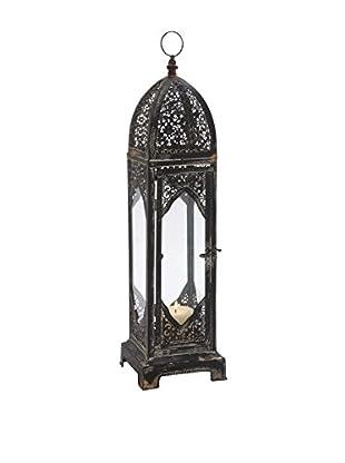 Black Metal and Glass Tall Lantern