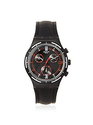 Swatch Men's YCB4023 Black Leather Watch