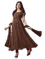 Ninecolours Net Semi Stitched Anarkali Salwar Kameez In Brown Colour