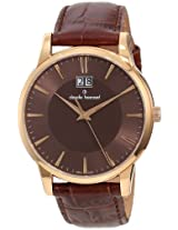 Claude Bernard Men's 63003 37R BRIR Classic Gents Rose Gold PVD Brown Dial Leather Date Watch