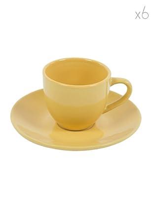 Kaleidos Set 6 Tazze Caffè con Piattino (Giallo)