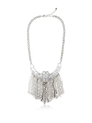 Chloe & Theodora Antiqued Silver-Tone Cubic Zirconia Fringe Chain Necklace