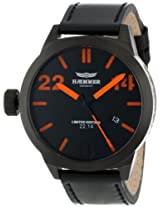 Haemmer Men's HQ-08 Kingston Ion-Plated Gun Coated Stainless Steel Orange Hands Limited Edition Watch