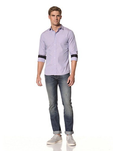 Descendant of Thieves Men's End on End Long Sleeve Woven Shirt (Mist)