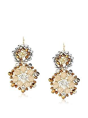 Leslie Danzis Double Circle Beaded Drop Earrings