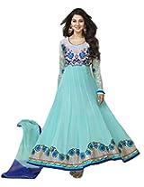 Clickedia Women georgette Salwar Suit Dress Material (Aqua blue anarkali_Free Size)