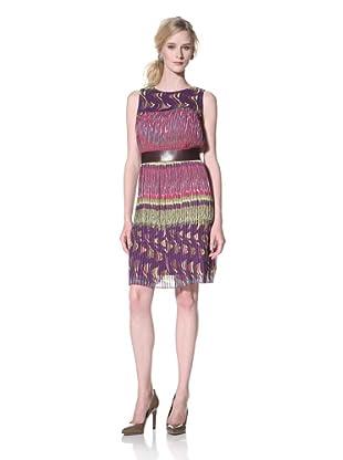 Chetta B Women's Printed Pleated Dress (Purple/Multi)