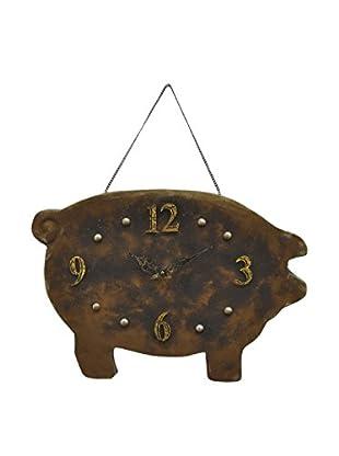 Three Hands Pig Metal Wall Clock