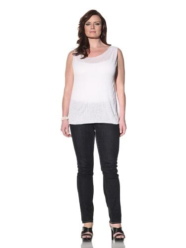 Z from Zenobia Women's Plus Patterned Knit Tank (White)
