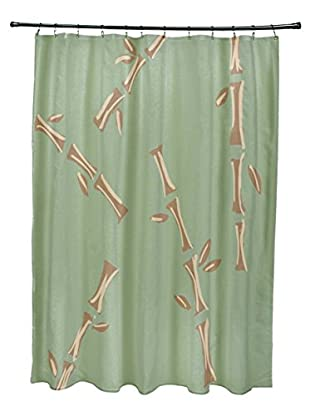 e by design Petite Shoots & Leaves Shower Curtain, Green/Brown
