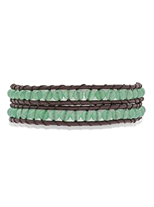 Lucie & Jade Echtleder-Armband Aventurinquarz dunkelbraun/grün