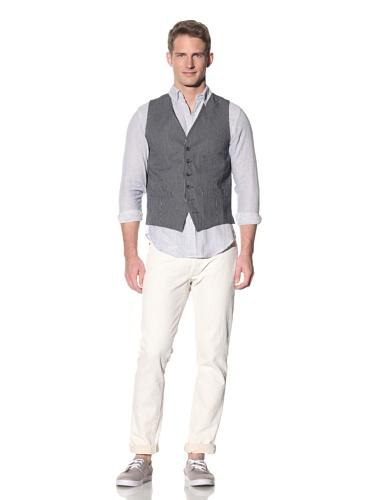 Barque Men's Denim Stripe Vest (Navy)