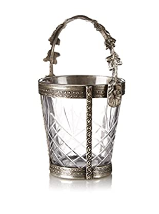Blue Ocean Traders Crystal Bucket Candle Holder, Silver